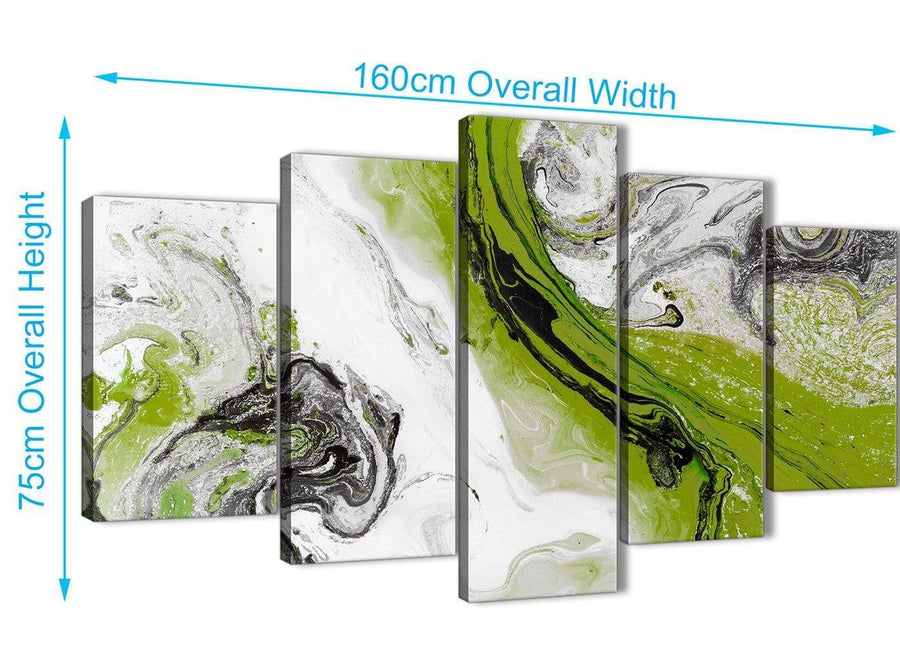 Extra Large 5 Panel Lime Green and Grey Swirl Abstract Dining Room Canvas Pictures Decor - 5464 - 160cm XL Set Artwork