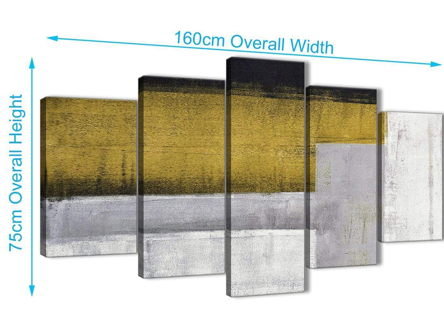 Extra Large 5 Piece Mustard Yellow Grey Painting Abstract Office Canvas Pictures Decorations - 5425 - 160cm XL Set Artwork