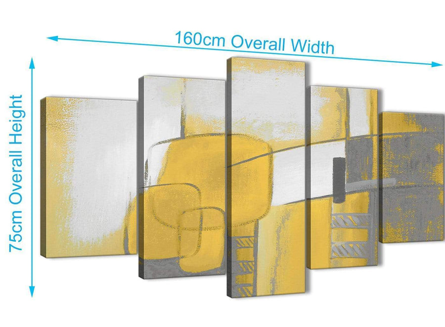 Extra Large 5 Panel Mustard Yellow Grey Painting Abstract Bedroom Canvas Pictures Decor - 5419 - 160cm XL Set Artwork
