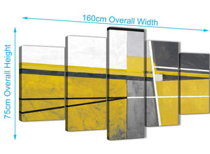 Extra Large 5 Piece Mustard Yellow Grey Painting Abstract Bedroom Canvas Wall Art Decor - 5388 - 160cm XL Set Artwork