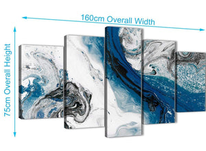 Extra Large 5 Piece Blue and Grey Swirl Abstract Office Canvas Wall Art Decor - 5465 - 160cm XL Set Artwork