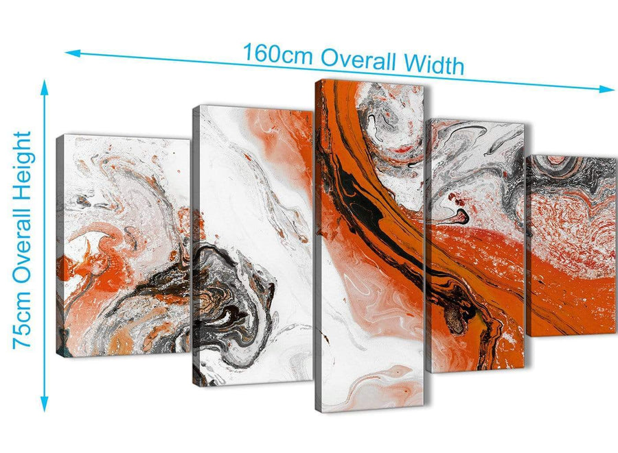 Extra Large 5 Panel Orange and Grey Swirl Abstract Office Canvas Pictures Decorations - 5461 - 160cm XL Set Artwork