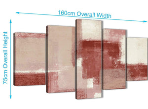 Extra Large 5 Piece Red and Cream Abstract Dining Room Canvas Pictures Decorations - 5370 - 160cm XL Set Artwork