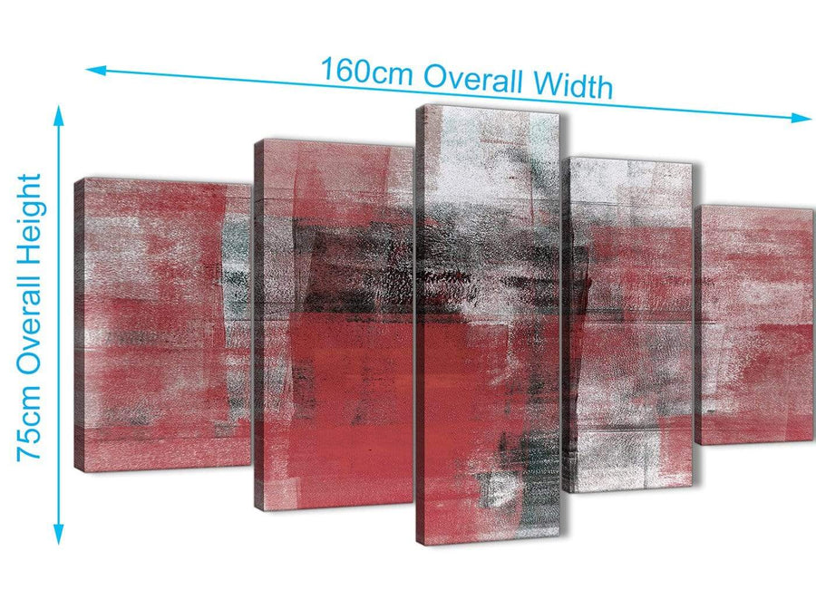 Extra Large 5 Piece Red Black White Painting Abstract Dining Room Canvas Pictures Decor - 5397 - 160cm XL Set Artwork
