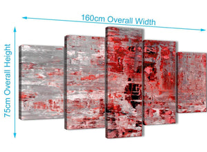Extra Large 5 Panel Red Grey Painting Abstract Office Canvas Pictures Decor - 5414 - 160cm XL Set Artwork