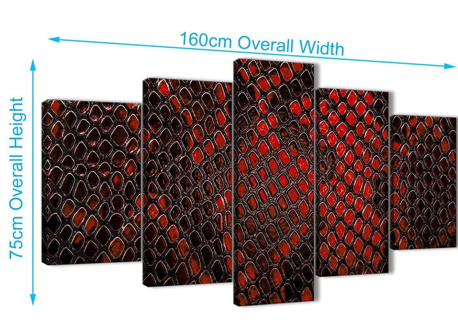 Extra Large 5 Panel Red Snakeskin Animal Print Abstract Living Room Canvas Wall Art Decorations - 5476 - 160cm XL Set Artwork