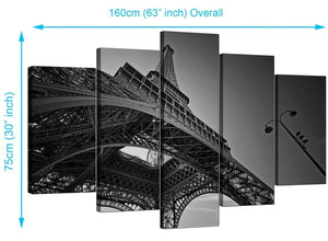 5 Panel Set of Extra-Large Black White Canvas Prints