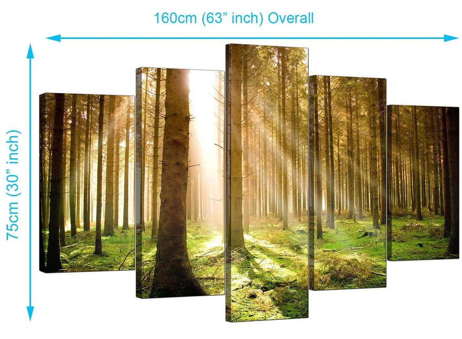 Set Of 5 Modern Green Canvas Art