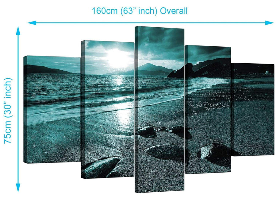 Five Panel Set of Extra-Large Teal Canvas Pictures