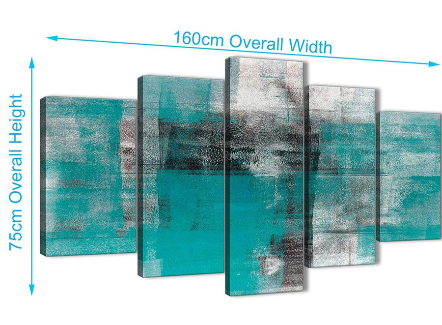 Extra Large 5 Piece Teal Black White Painting Abstract Bedroom Canvas Pictures Decor - 5399 - 160cm XL Set Artwork