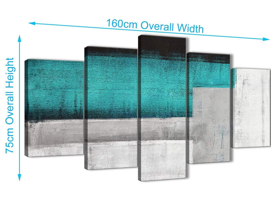 Extra Large 5 Piece Teal Turquoise Grey Painting Abstract Office Canvas Wall Art Decor - 5429 - 160cm XL Set Artwork
