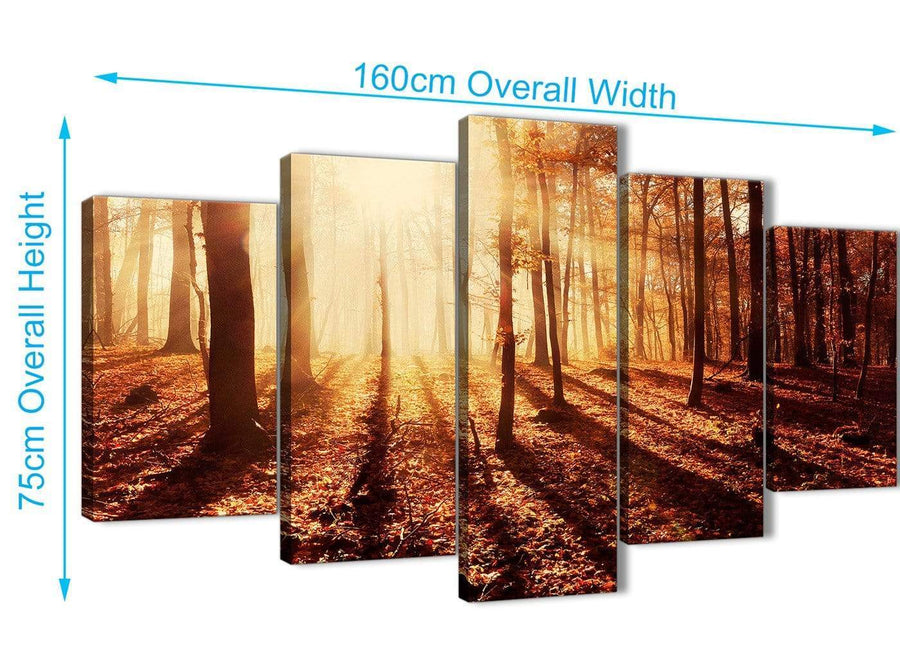 Extra Large 5 Panel Trees Canvas Wall Art Prints - Autumn Leaves Forest Scenic Landscapes - 5386 Orange - 160cm XL Set Artwork