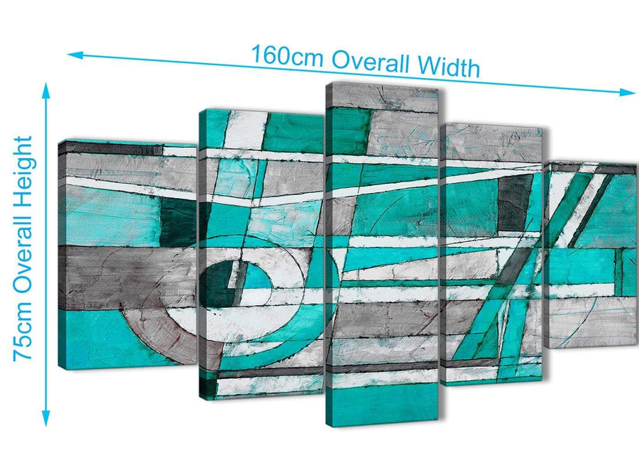 Extra Large 5 Piece Turquoise Grey Painting Abstract Living Room Canvas Wall Art Decorations - 5403 - 160cm XL Set Artwork