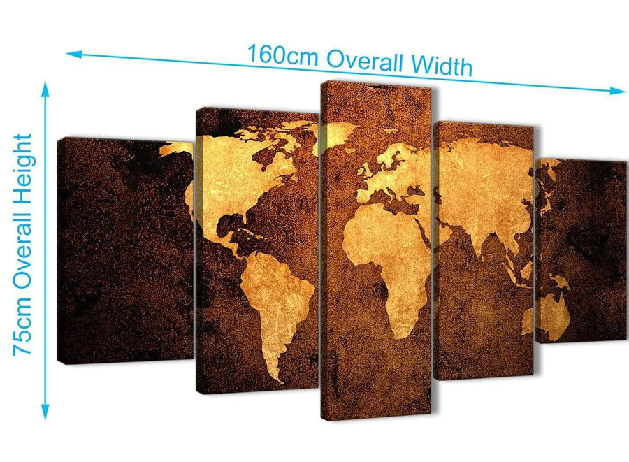 Extra Large 5 Piece Vintage Old World Map - Brown Cream Canvas - Abstract Bedroom Canvas Wall Art Decor - 5188 - 160cm XL Set Artwork