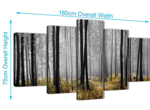 Extra Large 5 Piece Yellow and Grey Forest Woodland Trees Dining Room Canvas Wall Art Decorations - 5384 - 160cm XL Set Artwork