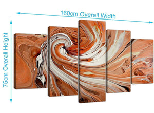 extra large abstract swirl canvas wall art orange 5264