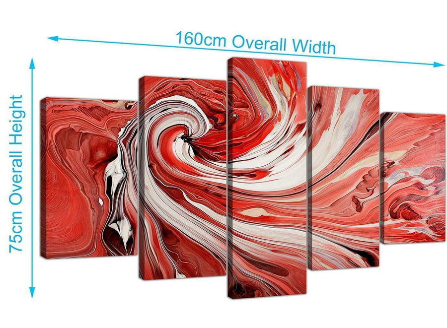 extra large abstract swirl canvas wall art red 5265