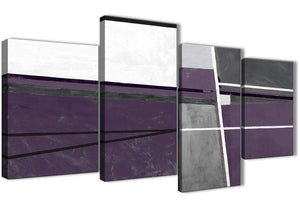 Extra Large Aubergine Grey Painting Abstract Bedroom Canvas Pictures Decor - 4392 - 130cm Set of Prints