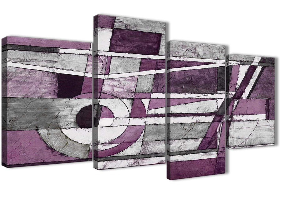 Extra Large Aubergine Grey White Painting Abstract Bedroom Canvas Wall Art Decor - 4406 - 130cm Set of Prints
