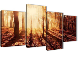 Extra Large Autumn Leaves Forest Scenic Landscapes Canvas Art Prints - Trees - 4386 Orange - 130cm Set of Pictures