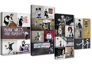Extra Large Banksy Collage - Bedroom Canvas Pictures Decor - 4500 - 130cm Set of Prints