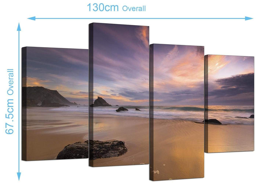 Cheap Beach Sunset Canvas Prints UK 130cm x 68cm 4198