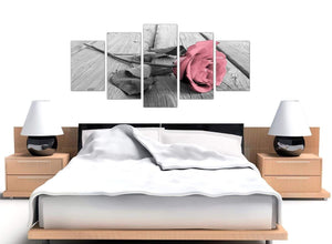 extra large black white and pink rose canvas wall art 5271