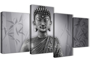 Extra Large Black White Buddha Living Room Canvas Pictures Decor - 4373 - 130cm Set of Prints
