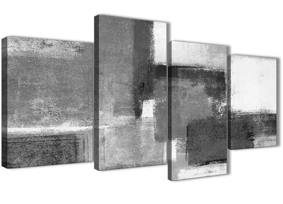Extra Large Black White Grey Abstract Bedroom Canvas Pictures Decor - 4368 - 130cm Set of Prints