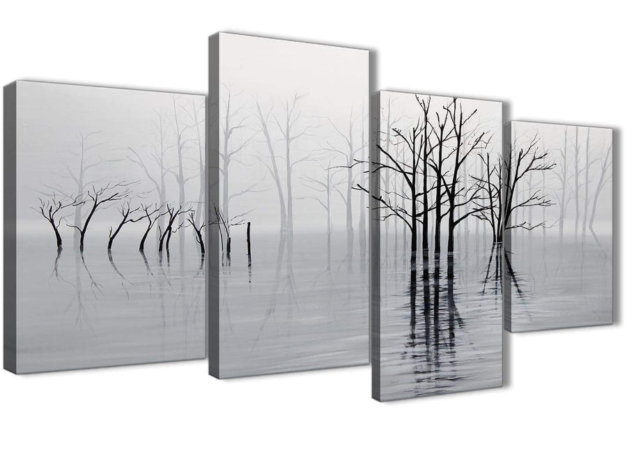 Extra Large Black White Grey Tree Landscape Painting Living Room Canvas Pictures Decor - 4416 - 130cm Set of Prints