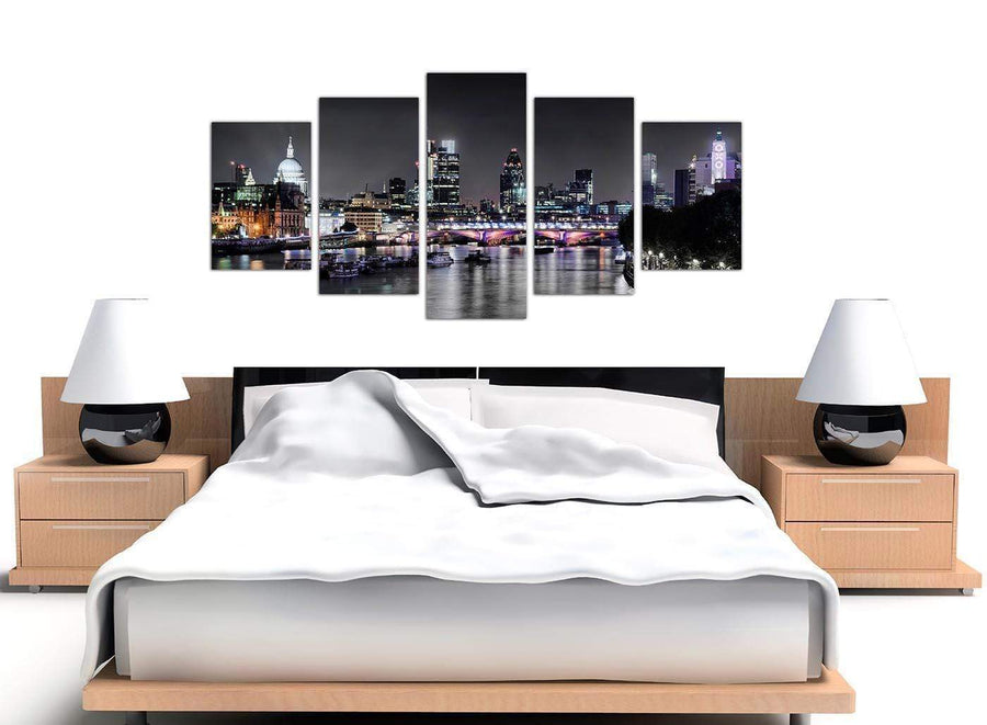 extra large black white london at night with grey cityscape canvas 5 part split 160cm wide 5211