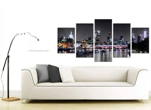 extra large black white london at night with grey cityscape canvas multi 5 panel 160cm wide 5211