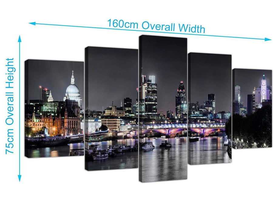 extra large black white london at night with grey cityscape canvas split 5 piece 160cm wide 5211