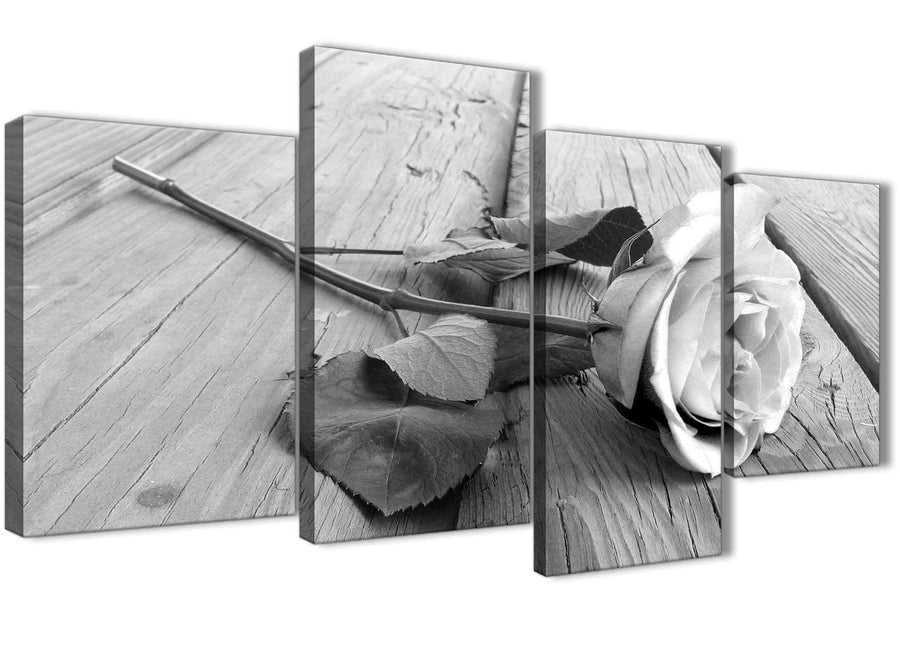 Extra Large Black White Rose Floral Bedroom Canvas Pictures Decor - 4372 - 130cm Set of Prints