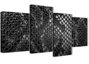 Extra Large Black White Snakeskin Animal Print Abstract Bedroom Canvas Pictures Decor - 4510 - 130cm Set of Prints