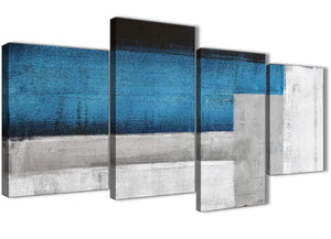 Extra Large Blue Grey Painting Abstract Living Room Canvas Pictures Decor - 4423 - 130cm Set of Prints