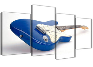 Extra Large Blue White Fender Electric Guitar - Living Room Canvas Pictures Decor - 4447 - 130cm Set of Prints