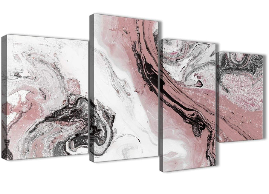 Extra Large Blush Pink and Grey Swirl Abstract Living Room Canvas Wall Art Decor - 4463 - 130cm Set of Prints