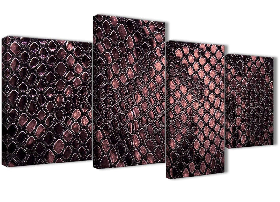 Extra Large Blush Pink Snakeskin Animal Print Abstract Bedroom Canvas Wall Art Decor - 4473 - 130cm Set of Prints