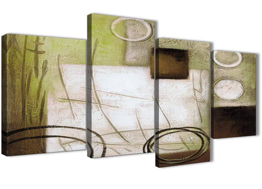 Extra Large Brown Green Painting Abstract Bedroom Canvas Pictures Decor - 4421 - 130cm Set of Prints