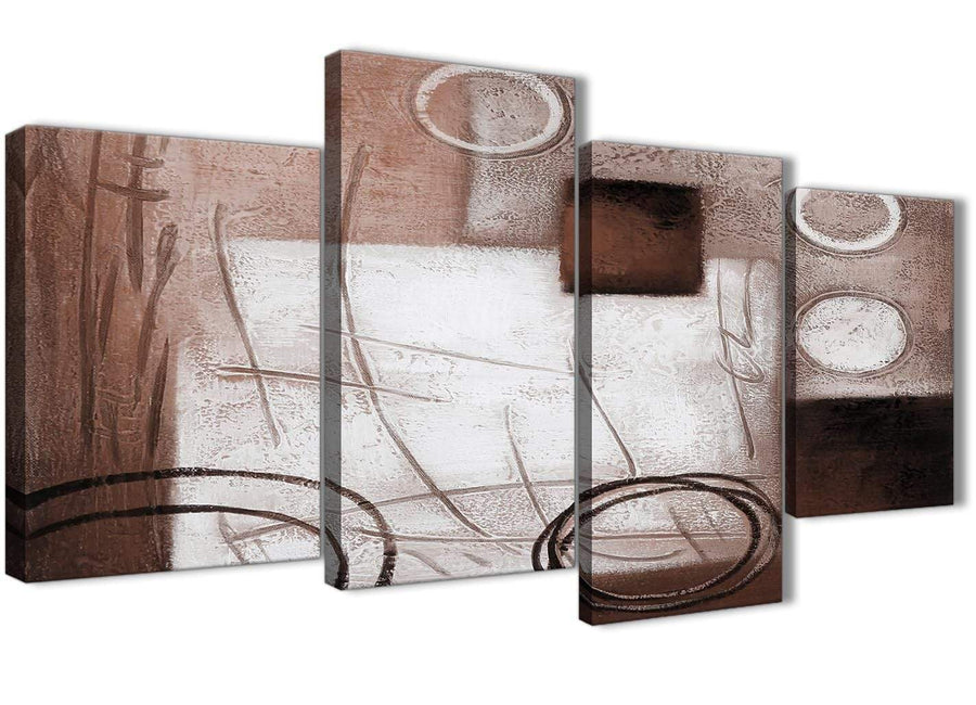 Extra Large Brown White Painting Abstract Bedroom Canvas Pictures Decor - 4422 - 130cm Set of Prints