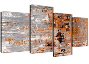 Extra Large Burnt Orange Grey Painting Abstract Bedroom Canvas Pictures Decor - 4415 - 130cm Set of Prints