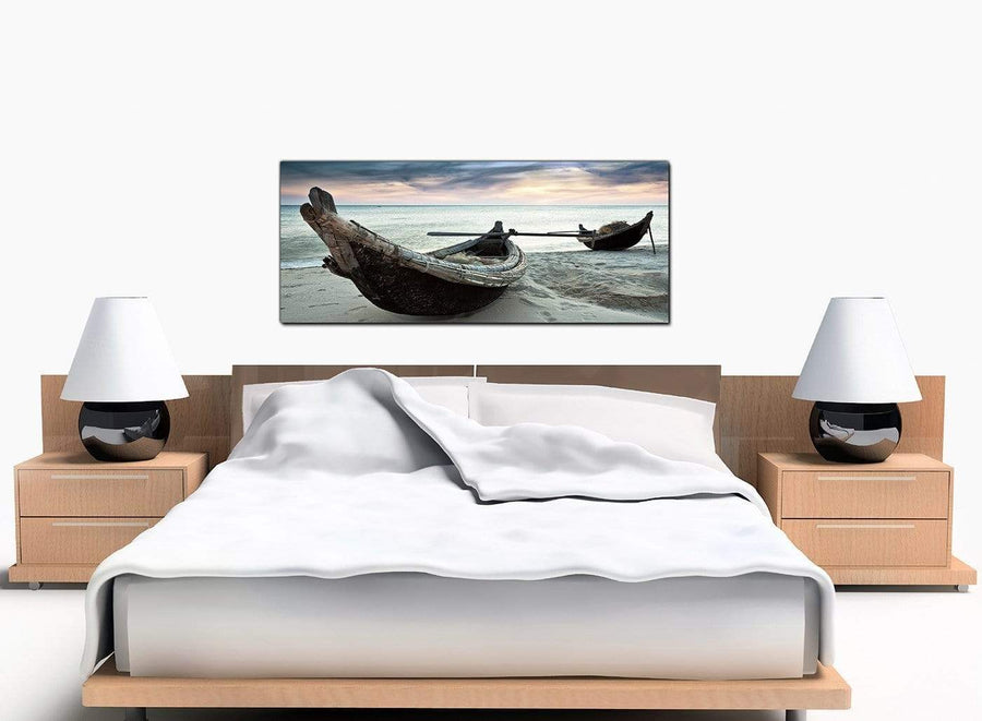 Boats Beach Modern Blue Canvas Pictures