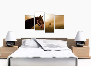 Four Panel Set of Bedroom Brown Canvas Wall Art