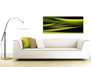 Modern Lime Green & Black Waves Abstract Canvas