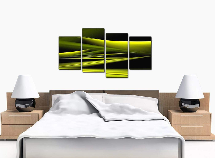 Set Of Four Bedroom Lime Green Canvas Picture