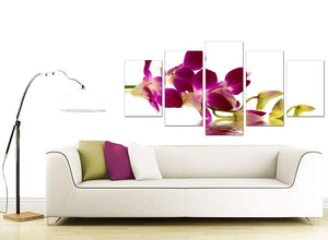 Purple Green White Orchid Flower Floral Canvas