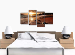 4 Piece Set of Bedroom Brown Canvas Pictures