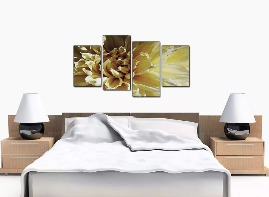 Four Panel Set of Extra-Large Cream Canvas Wall Art