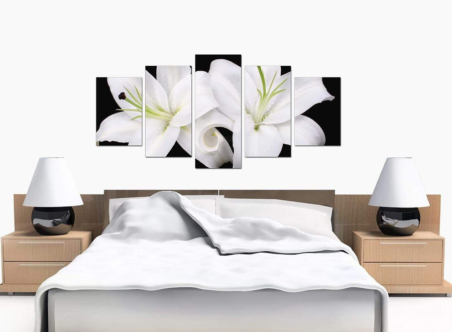 Set Of Five Bedroom Black White Canvas Picture